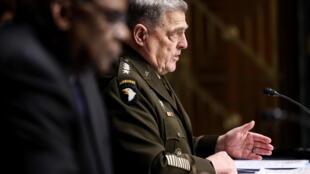 美國參謀長聯席會議主席米利與國防部長奧斯汀資料圖片