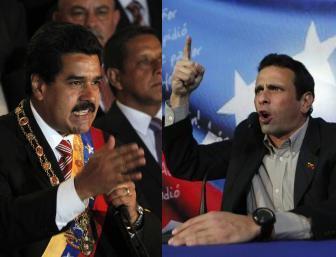 Wagombea wa nafasi ya Urais nchini Venezuela Kaimu Rais Nicolas Maduro (Kushoto) na Kiongozi wa Upinzani Henrique Capriles (Kulia)