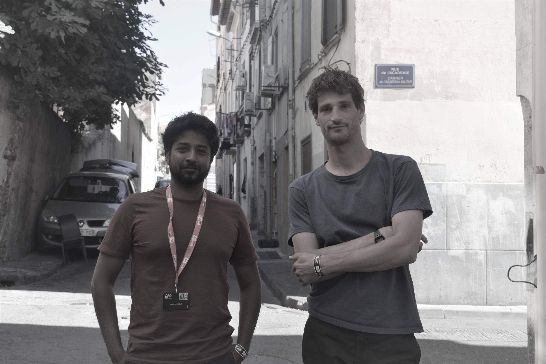 "Co-founders of ""Disclose"" Geoffrey Livolsi and  Mathias Desta in Perpignan, 6 September 2019"