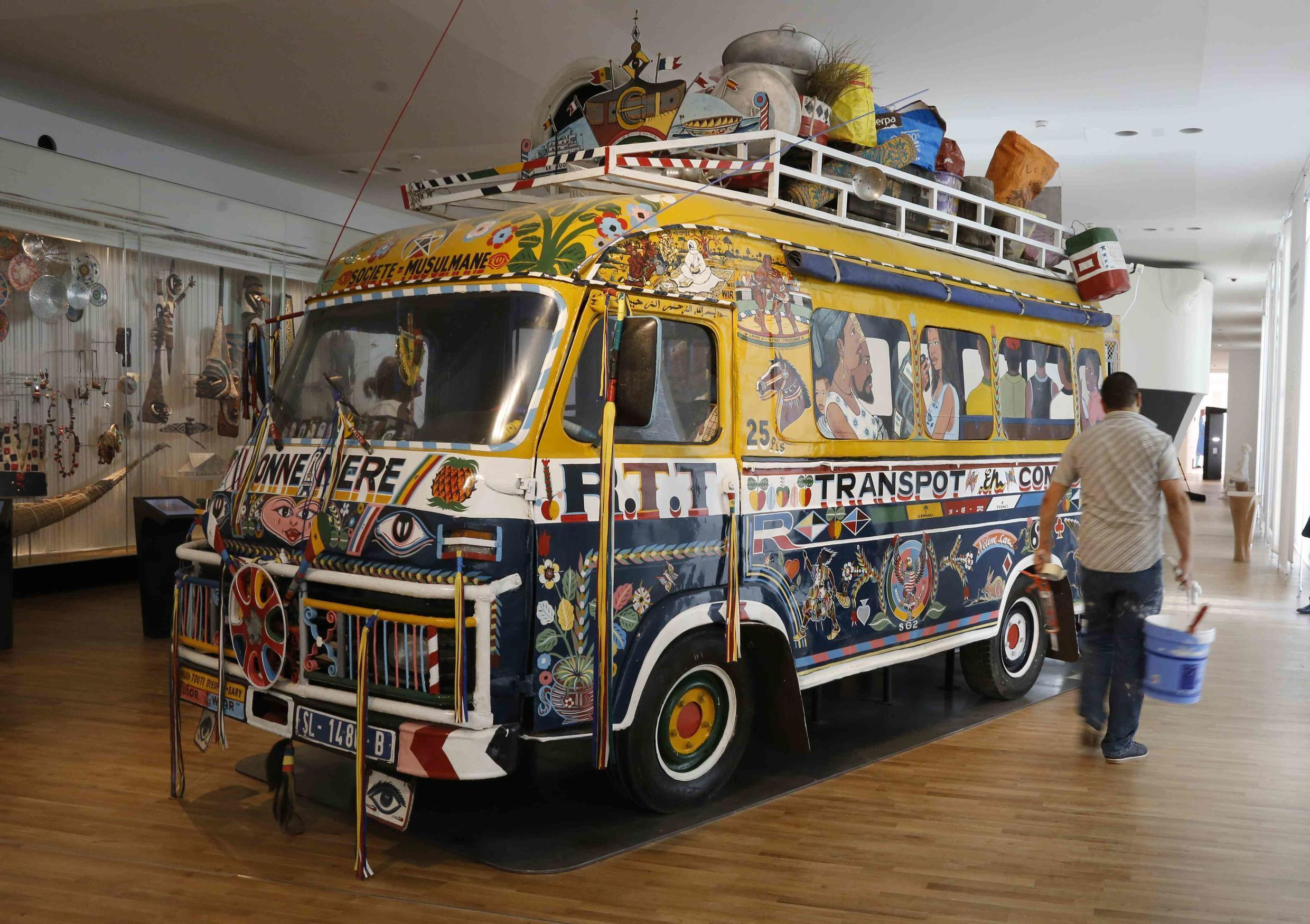 A renovated traditional public transport bus from Dakar (1960) at the Museum of Mankind in Paris, 14 October 2015.