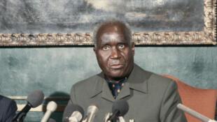 Le président zambien Kenneth Kaunda, lors d'un sommet Commonwealth, 1986.