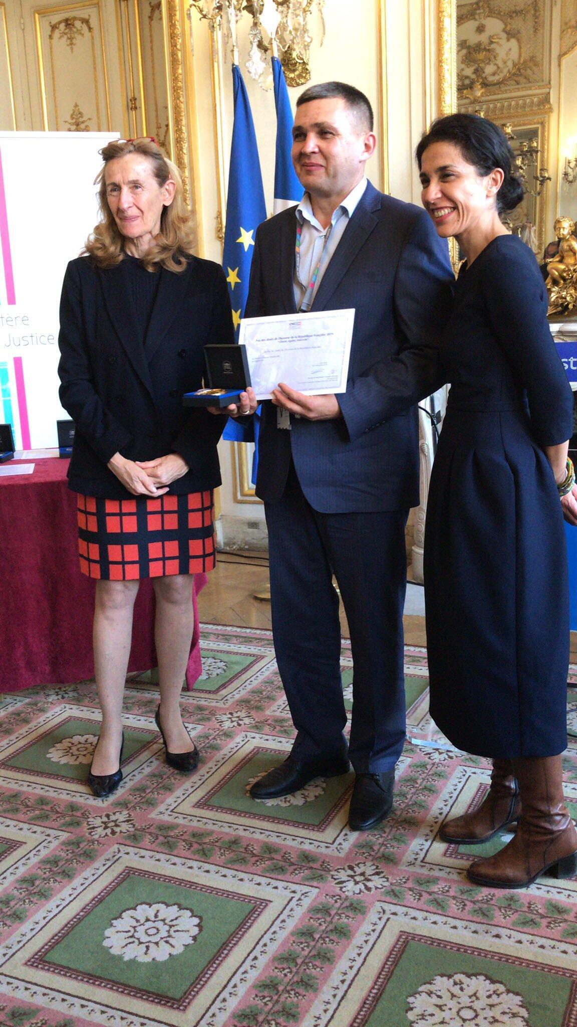 Алексей Петрушевский на церемонии вручения премии в МИДе Франции