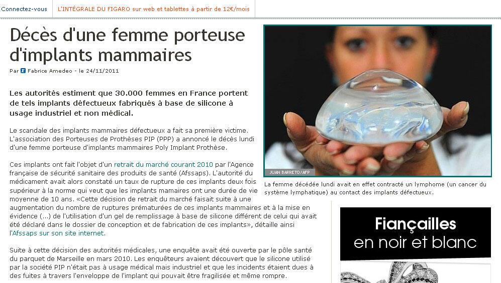 O site do jornal francês Le Figaro destaca a primeira morte relacionada a um implante de silicone na França.