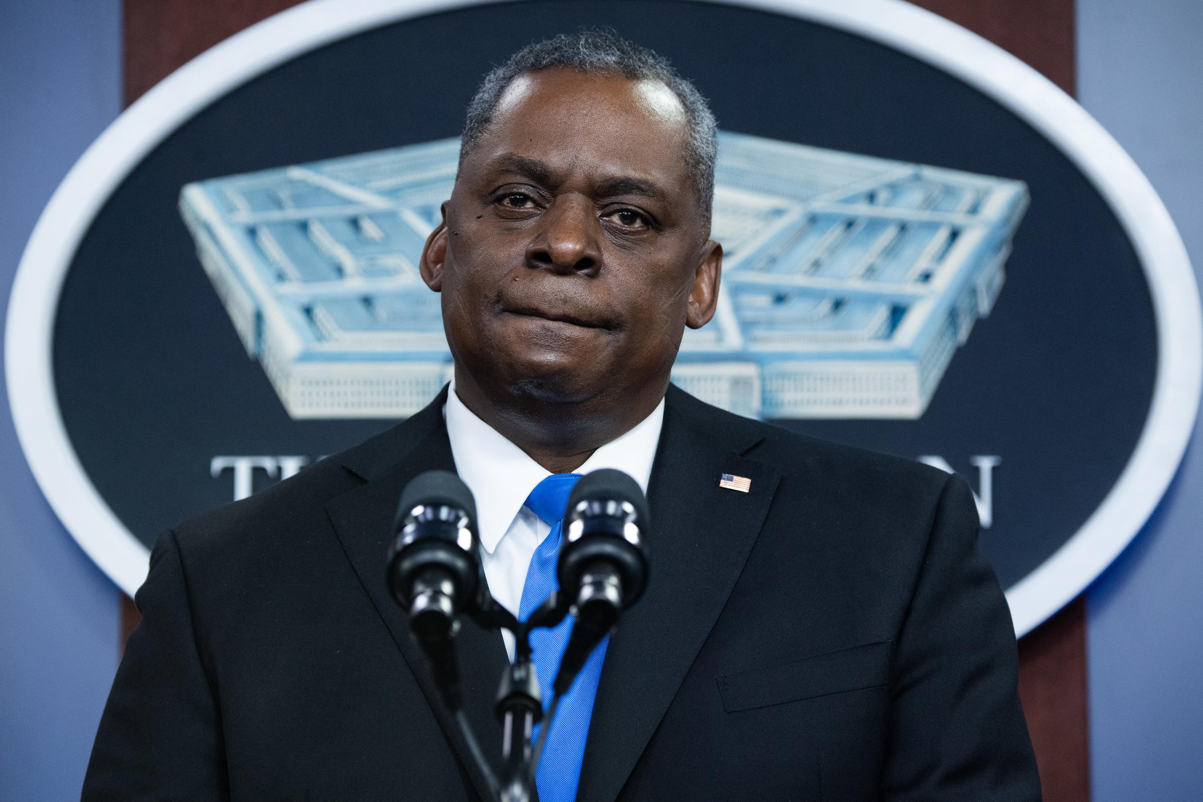 法广存档图片 - Image d'archive RFI : Pentagon chief Lloyd Austin speaking at a news conference this month