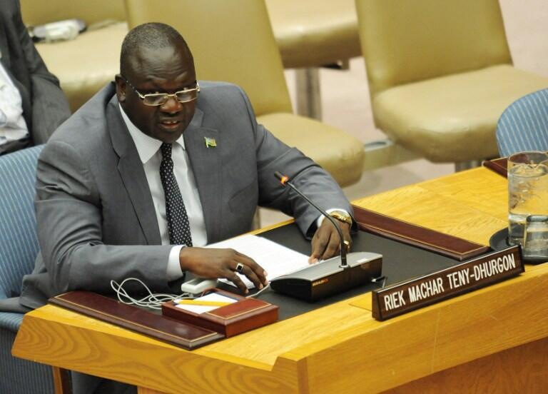 Riek Machar, then-vice president, addresses the UN Security Council on 13 July 2011 in New York.