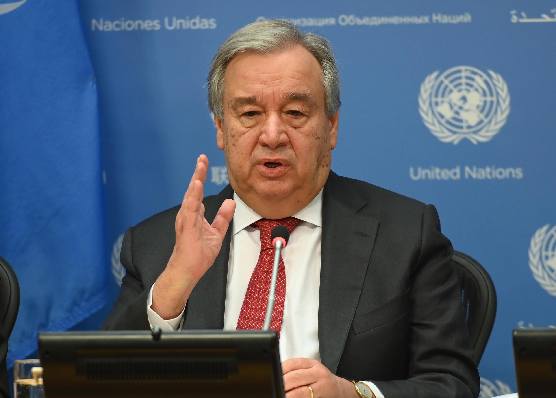 El secretario general de la ONU, Antonio Guterres, en una conferencia de prensa en la sede de Naciones Unidas en Nueva York, en febrero de 2020