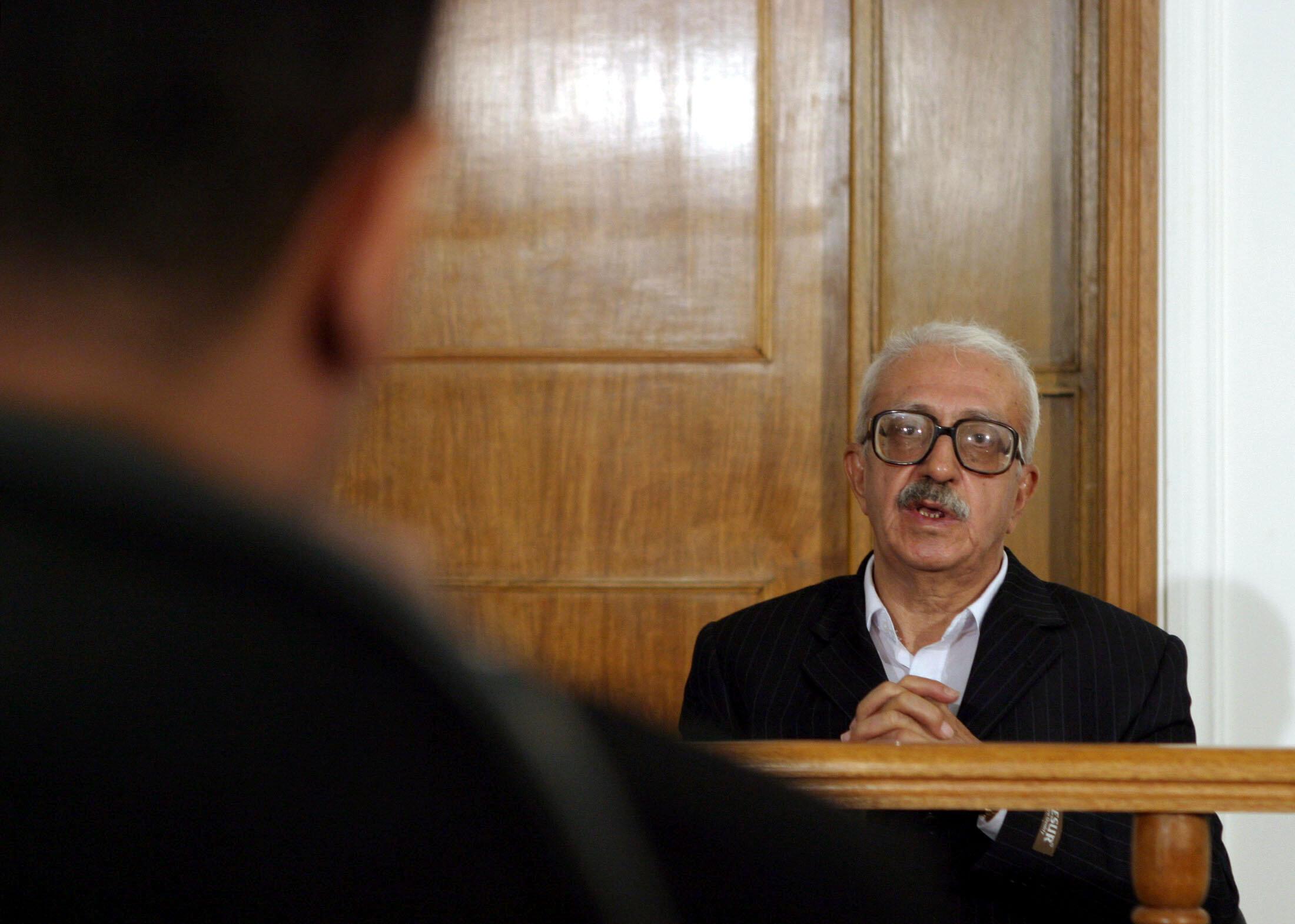 Тарик Азиз в зале заседаний трибунала в Багдаде