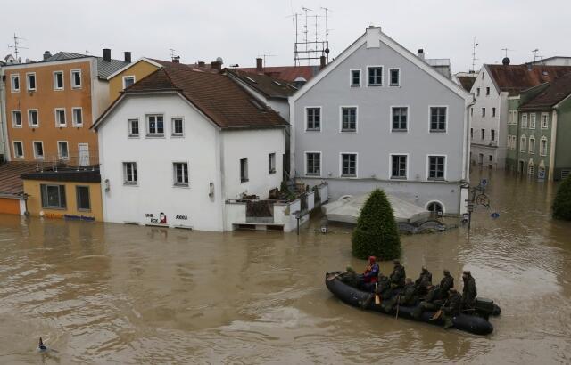 Cidade de Passau, na Baviera, atingida pelas inundações.