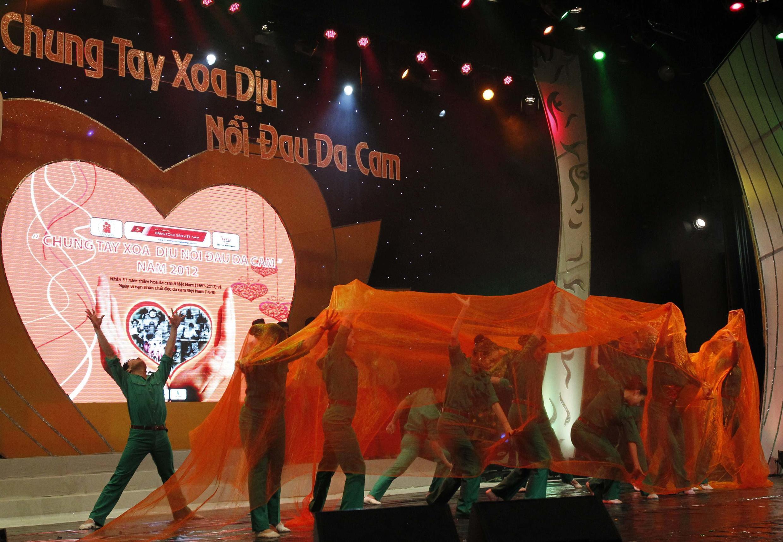 Một màn trình diễn nghệ thuật nhân Ngày vì nạn nhân chất độc da cam Việt Nam tại Hà Nội, 10/08/2012.