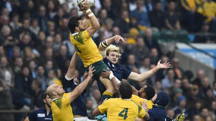 Scotland's Richie Gray and Australia's Adam Ashley-Cooper in action on 18 October, 2015