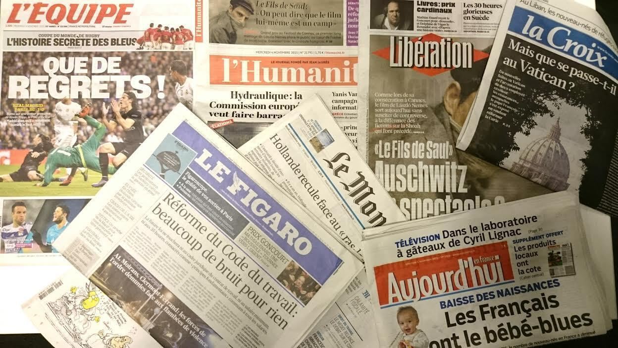 Capas dos jornais diários franceses de 04/10/15