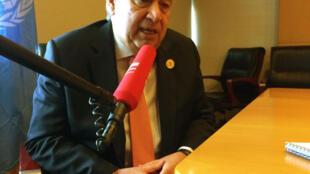 António Guterres, secretário-geral da ONU durante uma entrevista com a RFI, à margem da 30ª Cimeira de chefes de Estado da União Africana em Addis Abeba