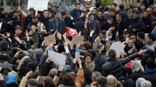 Manifestação de jornalistas,Tunes. 09/01/2012.