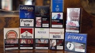 Not so chic - cigarettes in anti-cancer packages on sale in Paris