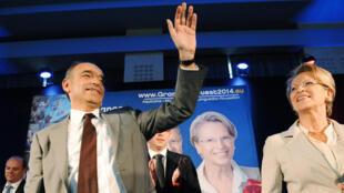 Le président de l'UMP, François Copé et Michèle Alliot-Marie, en meeting à Toulouse, à dix jours des élections européennes, le 15 mai 2014.
