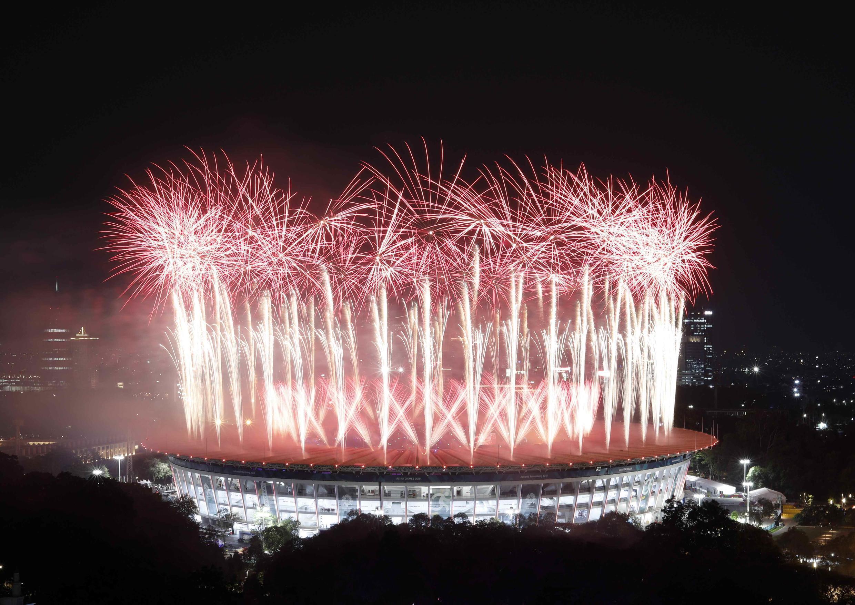 Cérémonie d'ouverture des 18es Jeux asiatiques, le 18 août 2018 à Jakarta.