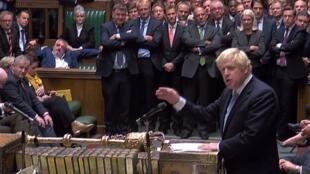 Le Premier ministre britannique Boris Johnson lors d'un discours au Parlement, le 10 septembre 2019. (Illustration).