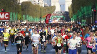 The beginning of the Paris marathon in 2014