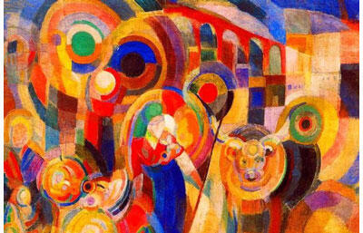 """""""Рынок в Миньо"""" Сони Делоне, масло, 1915 г."""
