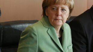 Канцлер Ангела Меркель в Канцелярии в Берлине 28/01/2015