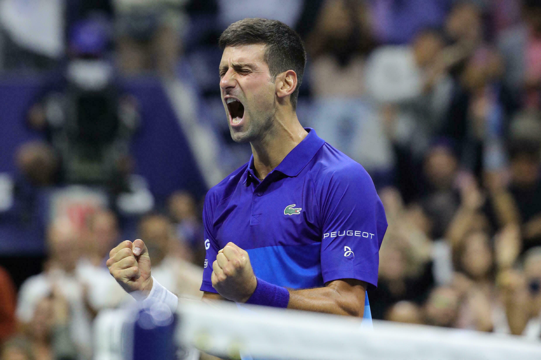Le Serbe Novak Djokovic au moment de sa victoire en demi-finale de l'US Open de tennis contre l'Allemand Alexander Zverev le 10 septembre 2021 dans l'USTA Billie Jean King National Tennis Center de New York aux Etats-Unis.