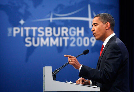 Le président Barack Obama au sommet du G20 à Pittsburgh, le 25 septembre 2009.