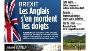 O Brexit é o destaque do jornal Aujourd'hui en France desta quinta-feira, 26 de julho de 2018.