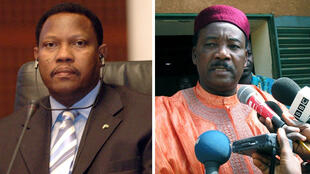Les deux leaders de l'opposition Hama Amadou (G) et Mahamadou Issoufou (D).