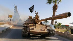 Un militante del Estado Islámico cerca de Raqqa.
