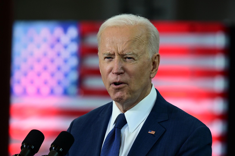 Le président américain Joe Biden lors d'une allocution à  Pittsburgh, Pennsylvanie, le 31 mars 2021