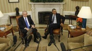 O premiê Benjamin Netanyahu e o presidente Barack Obama durante encontro na Casa Branca.