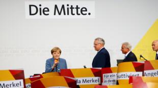 Angela Merkel, après l'annonce de la victoire CDU/CSU, à Berlin, le 24 septembre 2017.