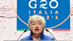 La Secretaria de Estado estadounidense Janet Yellen en rueda de prensa tras el G20 de Finanzas, el 11 de julio de 2021 en Venecia (Italia)