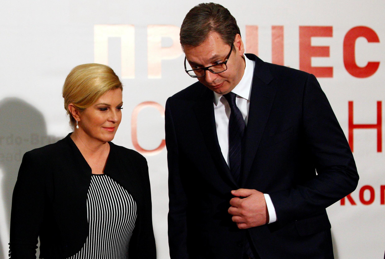 La présidente croate, Kolinda Grabar-Kitarovic et son homologue serbe, Aleksandar Vucic, le 27 avril 2018.
