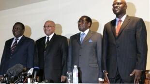 L-R: Morgan Tsvangirai, Jacob Zuma, Robert Mugabe and Arthur Mutambara