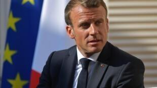 O Presidente Emmanuel Macron  cuja política ecológica leva as ONGs a boicotar o G7 de Biarritz.