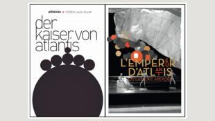 L'affiche de <i>L'Empereur d'Atlantis (Der Kaiser von Atlantis), </i>opéra de Viktor Ullmann chanté en allemand, surtitré en français, au Théâtre de l'Athénée à Paris (France), du 24 au 30 janvier 2014.