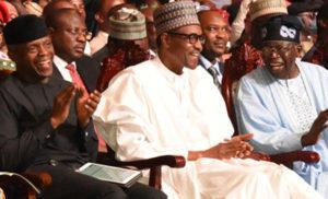 President Buhari, Vice President Osinbajo and ex-Lagos State governor and ruling APC honorary chairman Ahmad Bola Tinubu Jagaban reportedly worth 25 billion euros (N10 Trillion)