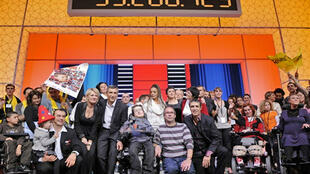 Le dernier Téléthon 2008, à Saint-Denis, en banlieue parisienne, le 6 décembre 2008.