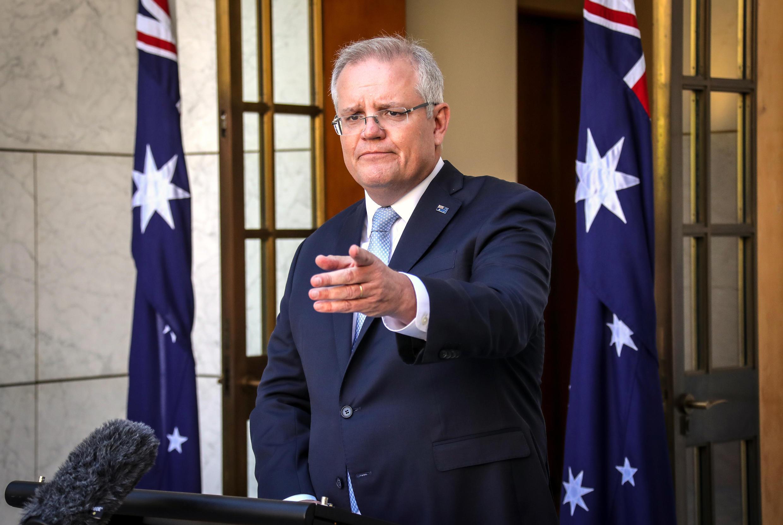 El primer ministro Scott Morrison, durante una rueda de prensa en el Parlamento de Australia, el 22 de marzo de 2020 en Canberra