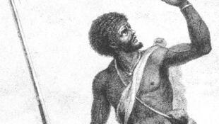 Gravue représentant un Cimarron, ou Noir marron, esclave en fuit dans les colonies.