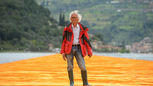 Artist Christo attends the presentation of his installation 'The Floating Piers' on 16 June, 2016, in Sulzano, Italy.