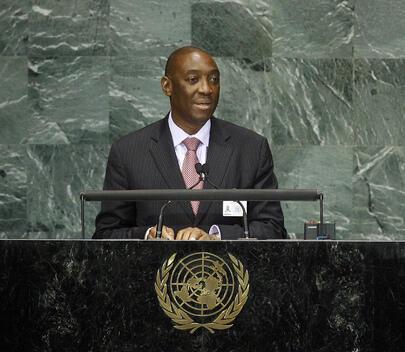 O chefe da diplomacia moçambicana, Oldemiro Balói discursando na sede da ONU