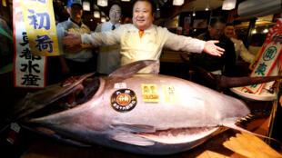 Um atum vermelho foi vendido por mais de 605 mil euros no leilão de Ano Novo no mercado de peixe de Tsukiji, em Tóquio.
