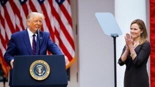 Donald Trump et la juge Amy Coney Barrett le 26 septembre à la Maison Blanche.