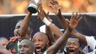 Wachezaji wa TP Mazembe wakisherehekea ushindi wao wakati wa michuano ya Kombe la Shirikisho, Novemba 6 Lubumbashi, DRC.