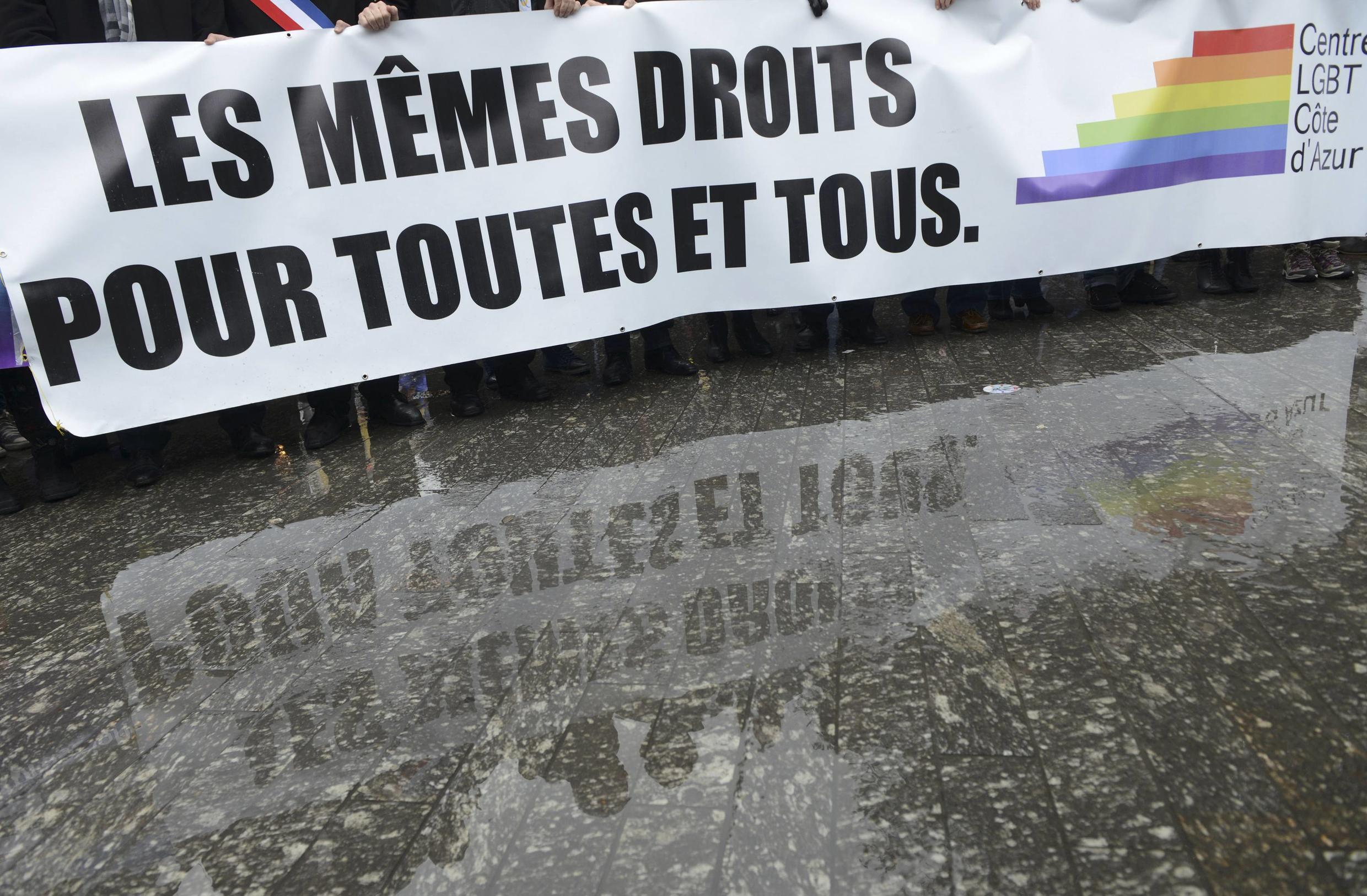 """""""Equal rights for all!"""" demands this banner on a pro-gay marriage demonstration in Nice last year"""