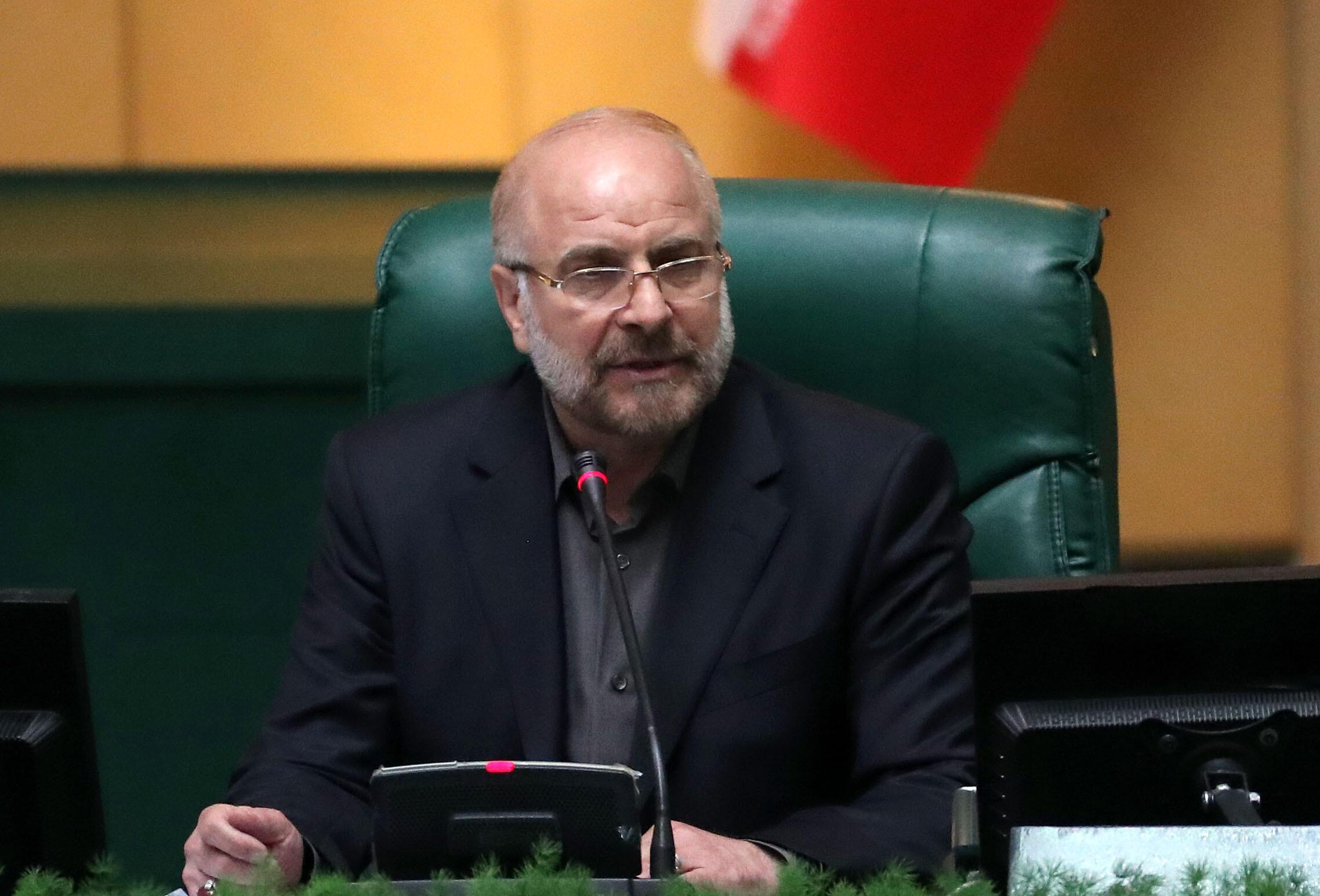 El nuevo presidente del Parlamento iraní, Mohamad Bagher Ghalibaf, en la asamblea en Teherán, poco después de ser elegido, el 28 de mayo de 2020