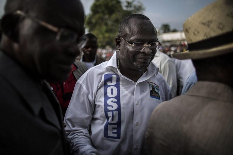 Guy-Brice Parfait Kolélas, opposant au président Sassou et candidat vaincu à la présidentielle, à Brazzaville le 17 mars 2016.