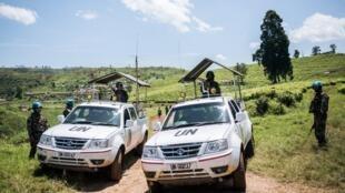 Des véhicules de la Monusco dans le territoire de Masisi au Nord-Kivu en avril 2019.